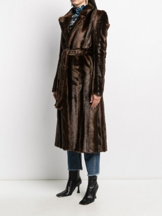 Off-White faux-fur mid-length coat / luxe brown tie waist coats