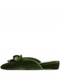 Olivia Morris At Home Daphne green velvet slippers