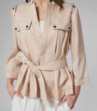 REISS OLIVIA BELTED UTILITY JACKET NEUTRAL ~ casual tie waist jackets - flipped