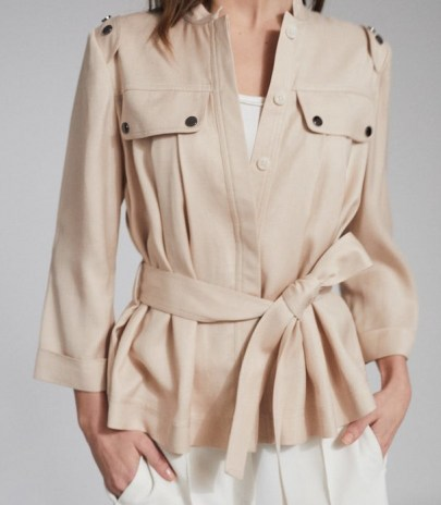 REISS OLIVIA BELTED UTILITY JACKET NEUTRAL ~ casual tie waist jackets