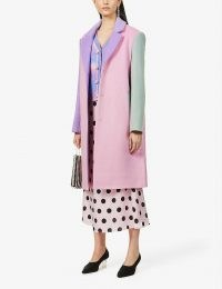 OLIVIA RUBIN Beatrix colour-block wool-blend coat / pink colourblock coats / pastel colours