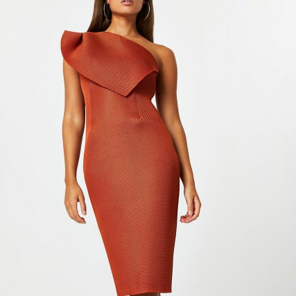 River Island Orange midi fishnet bodycon dress | one shoulder party dresses | fitted evening fashion - flipped