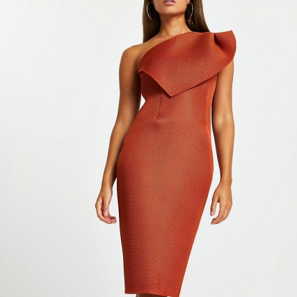 River Island Orange midi fishnet bodycon dress | one shoulder party dresses | fitted evening fashion