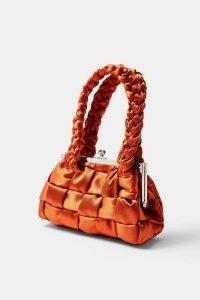 TOPSHOP Orange Weave Satin Grab Bag / small woven handbag