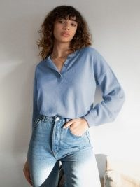 Oversized Cashmere Henley in Parisian Blue