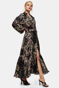 TOPSHOP Paisley Floral Print Maxi Dress / feminine ruffle trim dresses