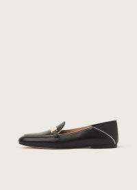 L.K. BENNETT PAOLA BLACK LEATHER CONTRAST PIPING LOAFERS / fold down back loafer / smart slip on shoes