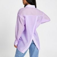 RIVER ISLAND Petite purple oversized organza shirt / split back detail shirts