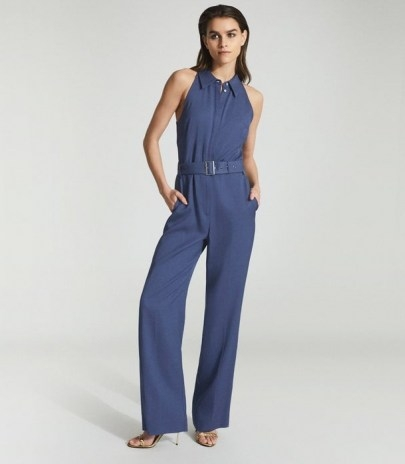 REISS PETRA WIDE LEG JUMPSUIT BLUE ~ sleeveless jumpsuits with collars ~ point collar all-in-one - flipped