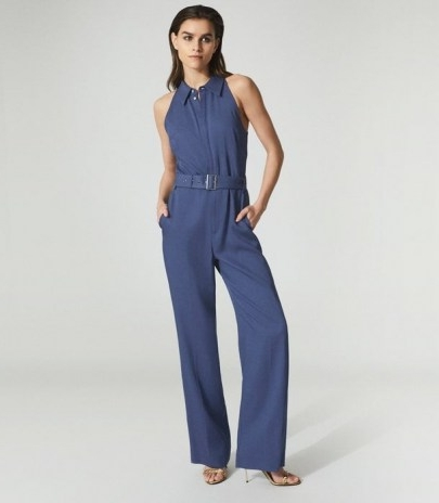 REISS PETRA WIDE LEG JUMPSUIT BLUE ~ sleeveless jumpsuits with collars ~ point collar all-in-one