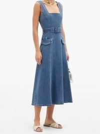 EMILIA WICKSTEAD Petra square-neck belted denim dress