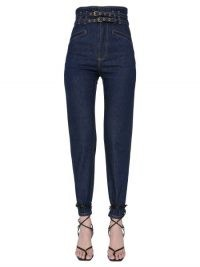 PHILOSOPHY DI LORENZO SERAFINI JEANS BIRGIT IN DENIM DI COTONE CON CINTURINI | high waist double belt jeans