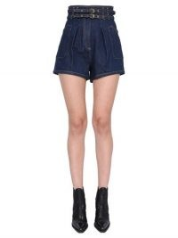 PHILOSOPHY DI LORENZO SERAFINI SHORT CAMILLE IN DENIM DI COTONE CON TASCHE WORKWEAR | high waisted blue belted shorts