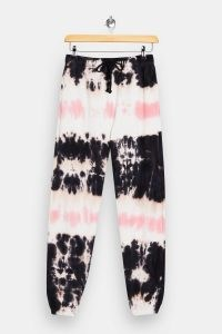 TOPSHOP Pink And Navy Tie Dye Print Joggers / cuffed jogging bottoms