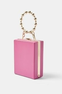 TOPSHOP Pink Beaded Handle Square Grab Bag / small box bags with round top handle