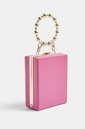 TOPSHOP Pink Beaded Handle Square Grab Bag / small box bags with round top handle - flipped