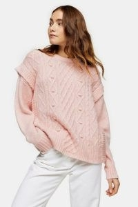TOPSHOP Pink Cable Crew Frill Knitted Jumper ~ shoulder detail jumpers
