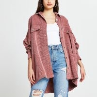 RIVER ISLAND Pink cord batwing long sleeve shacket ~ over sized slouchy shackets ~ casual corduroy shirts