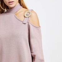 RIVER ISLAND Pink cut out buckle sweater mini dress ~ sweat dresses with embellished cut outs