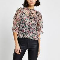 River Island Pink floral puff sleeve tea top