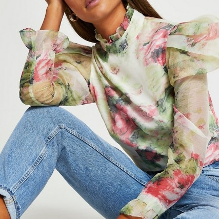 River Island Pink floral puff sleeve top | romantic high neck tops - flipped