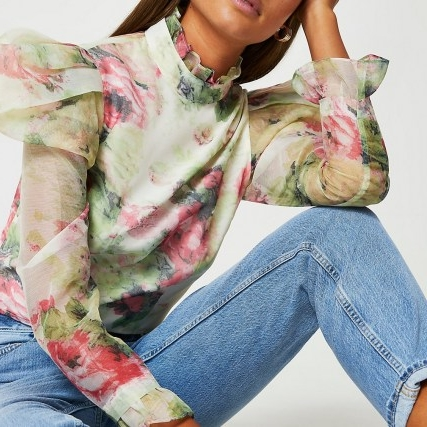 River Island Pink floral puff sleeve top | romantic high neck tops