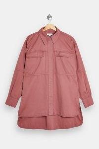 TOPSHOP Pink Oversized Casual Shirt ~ front pocket drop shoulder shirts