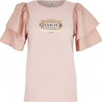 RIVER ISLAND Pink short sleeve 'L'Amour' frill t-shirt ~ layered sleeve slogan tee