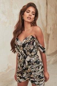 LAVISH ALICE pleated bardot mini dress in black rose ~ pleat detail party dresses ~ off the shoulder evening wear ~ floral