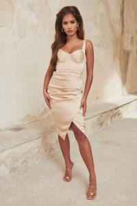 lavish alice pleated detail satin wrap midi dress in clay ~ luxe style fitted bust evening dresses