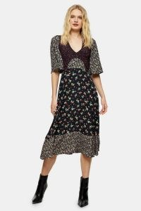 TOPSHOP Polka Dot And Floral Mixed Print Midi Dress / mixed floral print dresses