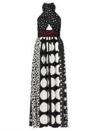 DOLCE & GABBANA Polka-dot halterneck silk-blend dress ~ mixed spot prints ~ beautiful Italian occasion clothing