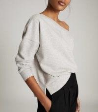 REISS POPPY OFF-THE-SHOULDER LOUNGEWEAR SWEATSHIRT GREY MARL / stylish casual wear