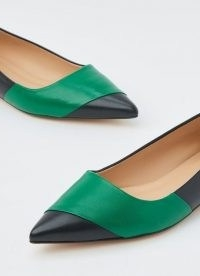 L.K. BENNETT POSEY BLACK AND GREEN LEATHER POINTED FLATS / pointy colour block flat shoes