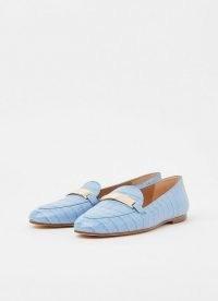 L.K. BENNETT PRIMROSE BLUE / croc embossed leather loafers