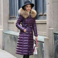 Ultamodan Belted Parka Down Coat With Faux Fur Collar | purple padded coats