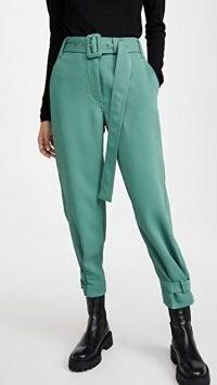 Proenza Schouler White Label Belted Rumple Pique Pants Sage ~ green abkle tie trousers