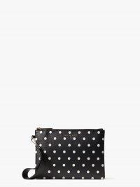kate spade spencer cabana dot small pouch wristlet / spot print leather wristlets / monochrome pouches