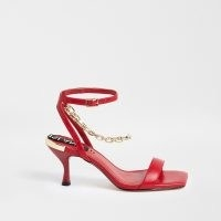 RIVER ISLAND Red chain ankle barely there heels / bright sassy sandals