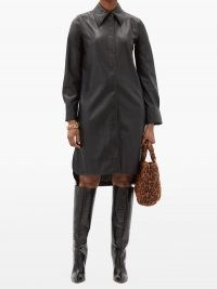 STAND STUDIO Remi faux-leather shirt dress ~ black dip hem point collar dresses ~ curved step hemline ~ front button up