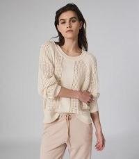 REISS RIA WOOL BLEND OPEN KNIT JUMPER CREAM / slouchy knits