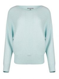 OLIVER BONAS Ribbed Blue Batwing Knitted Jumper