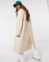 River Island relaxed crombie coat in oatmeal ~ neutral longline coats
