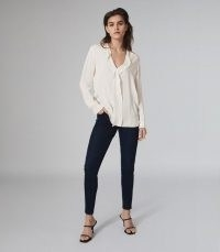 REISS ROCHELLE PINTUCK DETAILED BLOUSE IVORY ~ wardrobe essentials