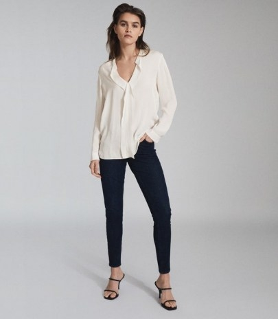 REISS ROCHELLE PINTUCK DETAILED BLOUSE IVORY ~ wardrobe essentials - flipped