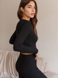Reformation Rocio Two Piece – black loungewear sets