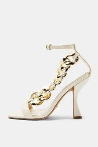 TOPSHOP ROCKET Ecru Chain Sandals ~ sculpted heels ~ chunky chains