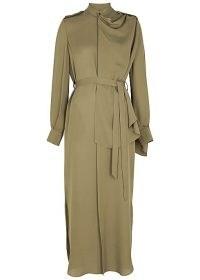 ROLAND MOURET Northcott olive draped silk midi dress ~ green occasionwear