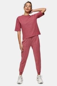 TOPSHOP Rose Pink Acid Wash Joggers ~ cuffed jogging bottoms