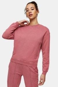 TOPSHOP Rose Pink Acid Wash Sweatshirt ~ crew neck sweatshirts